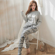 New 2015 Autumn Winter font b Womens b font Pajama Sets O Neck Long Sleeve font