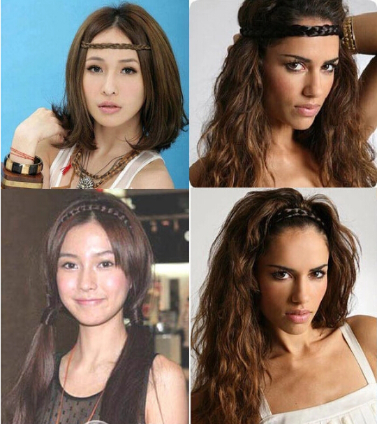 New Synthetic Hairpieces Braid Headband Women Hair Accessories Girls Hair Band Lenth 48cm women wigs Good Elastics Lady Headband fishtail braid with hair accessory