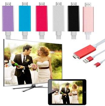 Телефон к телевизору для iPhone Xs XR 6 7 8 PLUS аудио видео адаптер, hdmi-кабель зеркального отображения экрана для ТВ проектор телефон литой ТВ ссылка >> YiBaohk Trading LTD Store