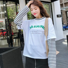 Korean Style Simple letter Printed t shirt autumn College Wind Loose Casual  Striped fake two pieces ff716d834d2d