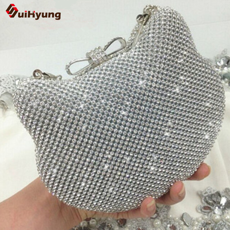 New Women's Shiny Rhinestones Hello Kitty Clutch Sided Full Diamond Evening Bag Wedding Party Handbag Purse Ladies Shoulder Bag boutique charm full of high quality diamond fashion party mini purse clutch evening bag ladies handbag shoulder bag wallet 88631