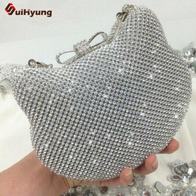New Womens Shiny Rhinestones Hello Kitty Clutch Sided Full Diamond