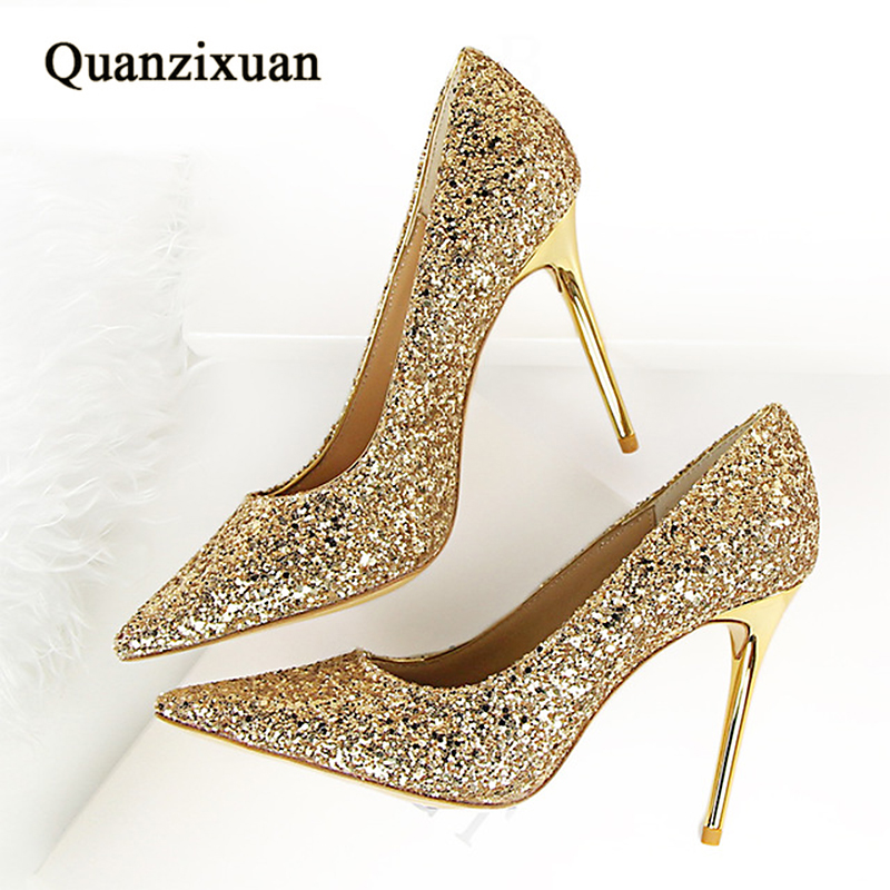 Women Pumps Fashion Bling High Heels Sexy Stiletto Heels Shoes Pumps Pointed Toe Party Shoes Women