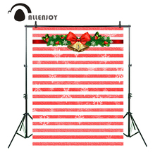 Allenjoy photography background red white stripes Snowflakes Christmas party backdrop Photo studio background camera fotografica