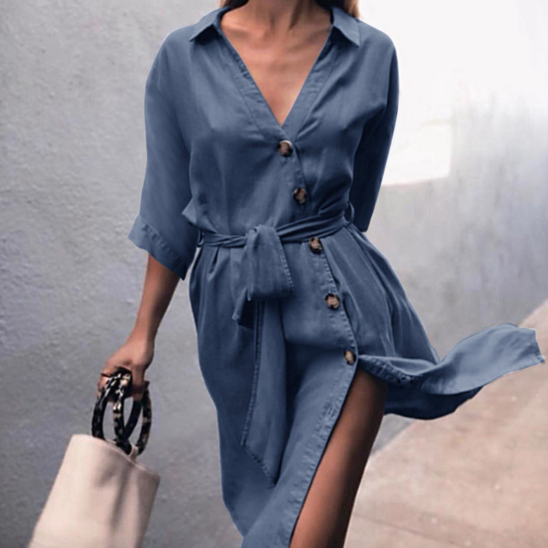 Women Sexy Button Dress Ladies V Neck Dresses  Autumn Casual Long Sleeve Dress