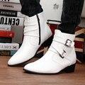 Homens Botas de Inverno Casuais de Alta Top Botas para Homens Apontou Toe de Couro Fivela Sapatos de Combate Botas Aumento da Altura Branco G12