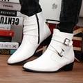 Ocasionales de los hombres Botas de Invierno de Alta Superior Botas Hombres de Punta estrecha Botas de Combate de Cuero Hebilla Zapatos Altura Creciente Blanco G12