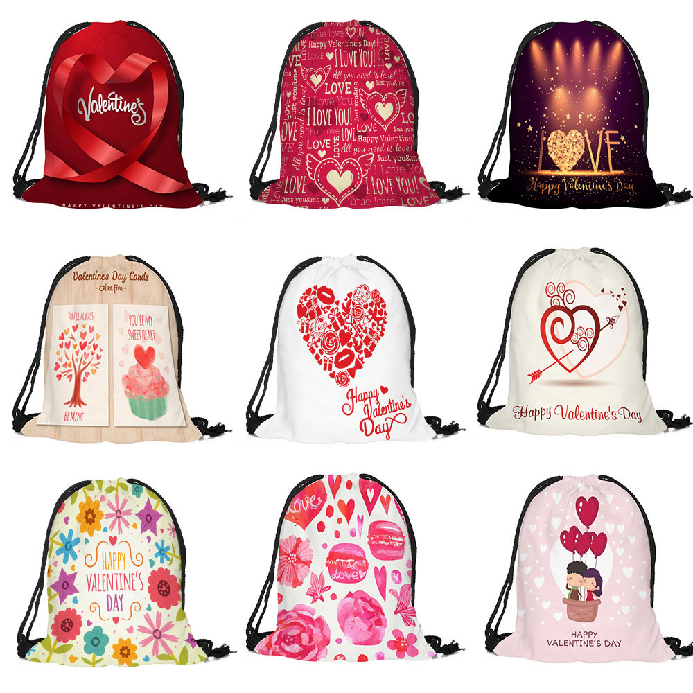 Men's Bags Cotton Fabric Sack Sport Gym Travel Large Capacity Backpack Bags Valentines Day Drawstring Bag Lightweight Gif For Love 10aug13 Superior Materials