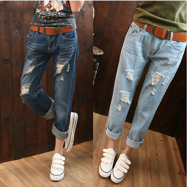 Large Size 6XL Women High Waist Jeans White Ripped Jeans For Women 5XL Boyfriend Jeans Pants Women American Apparel Jeans Femme