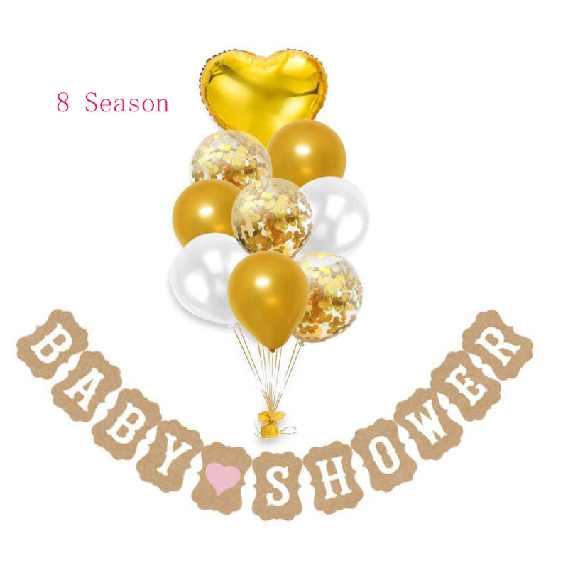 8Season Baby Shower Banner Pink Blue Black Happy Birthday Bunting Garland its a girl Boy Balloons Kids Party Decorations