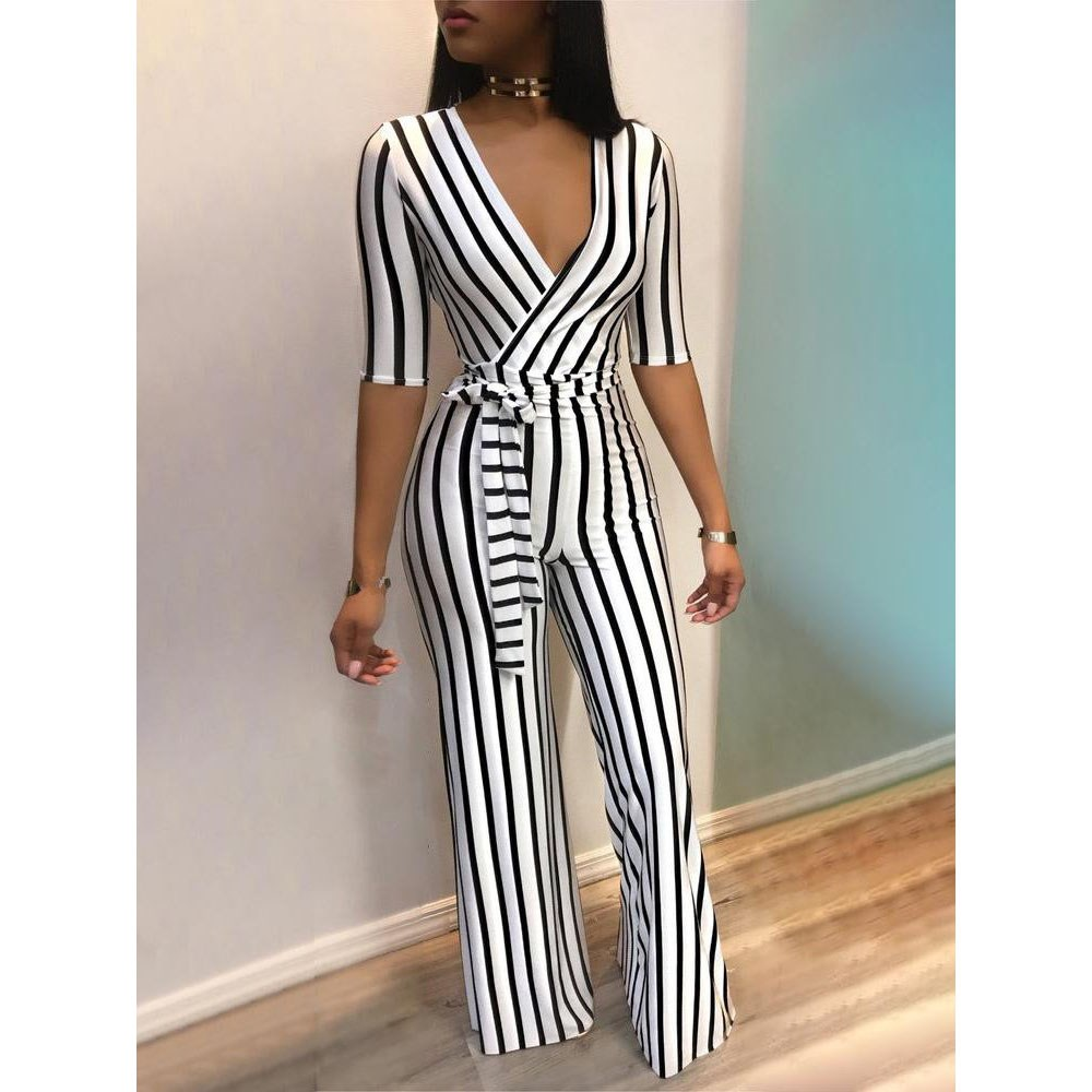 Fashion Sexy V Neck Striped Jumpsuit Women Sashes Overalls Belt High Waist Wide Leg Rompers Elegant Office Lady