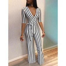 цена на Fashion Sexy V Neck Striped Jumpsuit Women Sashes Overalls Belt High Waist Wide Leg Rompers Elegant Office Lady Sashes Jumpsuit