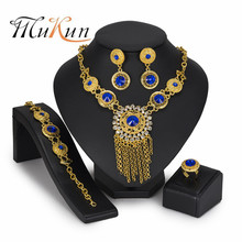 MUKUN Brand Luxury Jewelry Necklace Crystal Pendant Gold Nigerian Women Accessories Wedding Fashion Party Sets