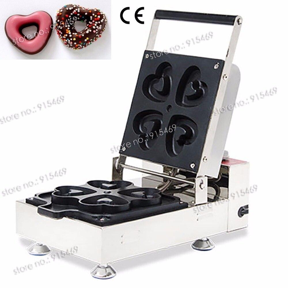 Free Shipping 110v 220v Commercial Non-stick Heart-shape Donut Baker Iron Maker Machine 110v 220v automatic donut making machines with 3 mold free shipping