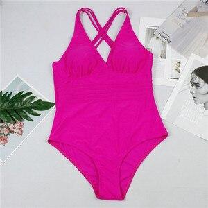 Image 5 - Peachtan V neck swimsuit one piece Sexy bikini 2019 new Summer high cut swimwear women bathing suit Monokini beach wear bathers