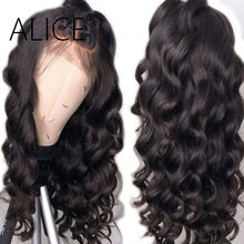 ALICE Glueless Full Lace Human Hair Wigs With Baby Hair Loose Wave Wig 150% Remy Hair Pre Plucked Full Lace Wigs Bleached Knots(China)