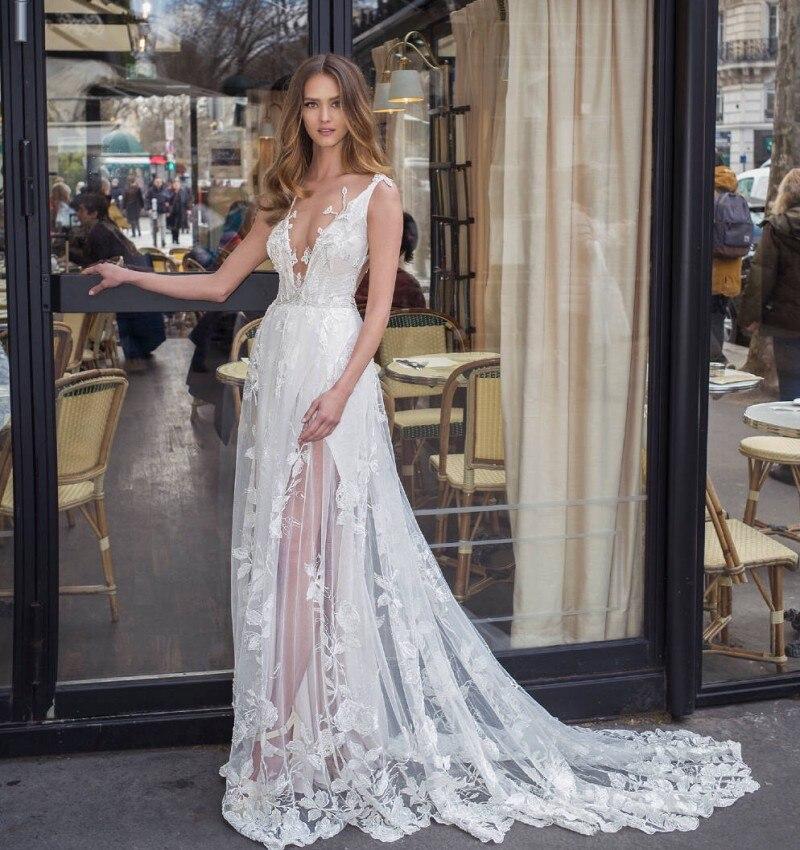 Lorie Wedding Dress Sleeveless 3D Flowers Deep V Neck Bride Dress A Line Elegant Beach Wedding Gowns Boho Floor Length