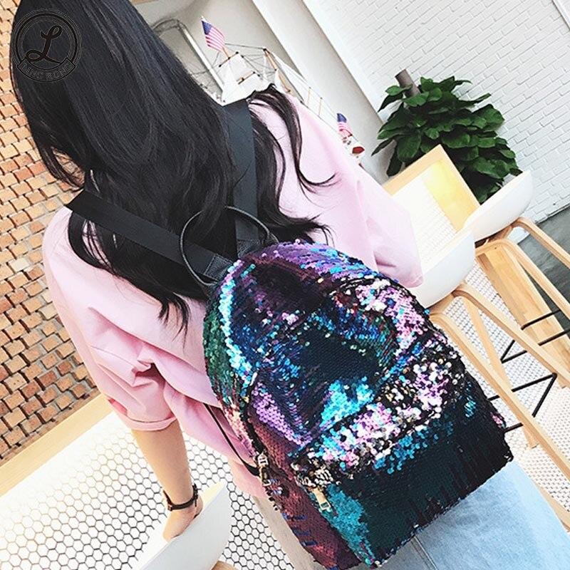 Korean Women Backpack Fashion Sequins Bags Teenage Girl Pack Bags Travel School Bags Mochila Shoulder Backpack