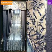Custom curtains upscale new Chinese living room cotton linen blue white thick cloth blackout curtain tulle valance drapes N665