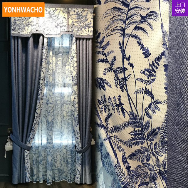 Custom Curtains Upscale New Chinese Living Room Cotton Linen Blue