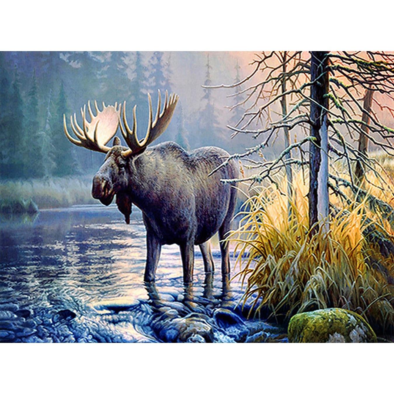 Deer,Diamond Painting,Cross Stitch,5D,DIY,Animal,Needlework,Embroidery,Round Rhinestone,Room Decoration,Fashion Crafts,Art,Gift
