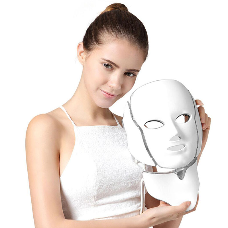 Nouveau EMS Microelectronics LED Photon masque 7 couleurs LED visage cou masque Micro-courant pour rides acné enlèvement visage beauté Spa