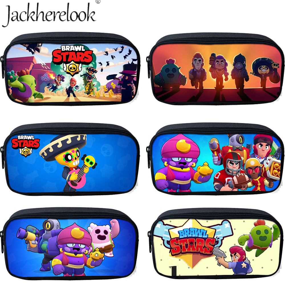 Jackherelook Game Brawl Stars Print Cartoon Kids Student Pencil Bag For Children Makeup Bag Cosmetic Cases School Pencil Cases