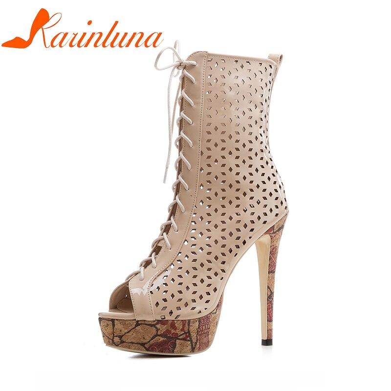 KARINLUNA New Big Size 33-43 Brand Design Shoes Summer Boots Thin High Heels Top Quality Platform Party Shoes Women