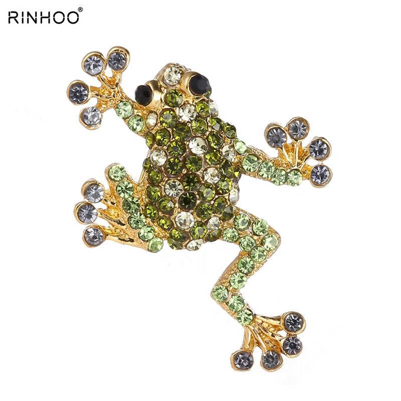 Trendy Rhinestone Animal Frog Brooch Pins Crystal Brooches for Women Decoration Jewelry Clothes Accessories For Women And Girl