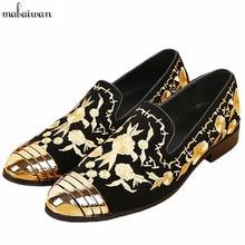 2017, Новая мода Свадебные модельные туфли кроссовки на плоской подошве Слипоны мужские Индивидуальные повседневная обувь на плоской подошве золотой вышивкой замшевые лоферы