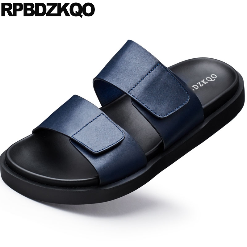 summer fashion casual slippers genuine leather size 45 plus sandals blue 2019 designer shoes men high quality slides flat largesummer fashion casual slippers genuine leather size 45 plus sandals blue 2019 designer shoes men high quality slides flat large