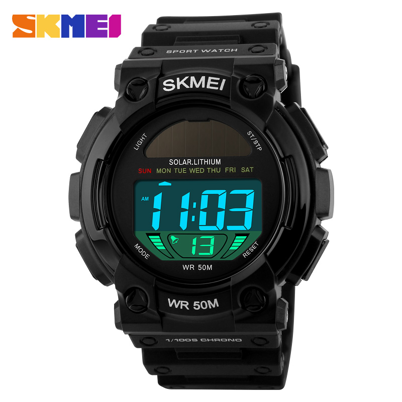 SKMEI Outdoor Solar Power Sports Watches Men Waterproof Male Clock Casual Men's Wristwatches Digital Watch Reloj Hombre outdoor sports watches men skmei brand countdown led men s digital watch altimeter pressure compass thermometer reloj hombre