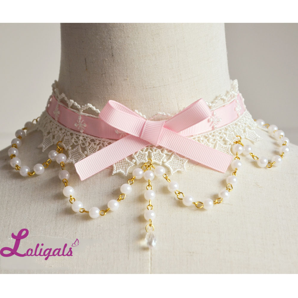 Sweet Lolita Lace Choker with Bowknot Cute ყელსაბამი Beaded Chain