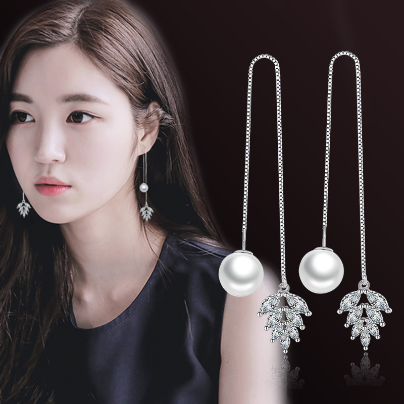 100 925 sterling silver hot sell imitation pearl shiny crystal flower ladies tassels stud earrings jewelry wholesale cheap in Stud Earrings from Jewelry Accessories