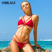 OMKAGI Brand Solid Swimsuit Swimwear Women Sexy Push Up Bikinis Set Swimming Bathing Suit Beachwear Brazilian
