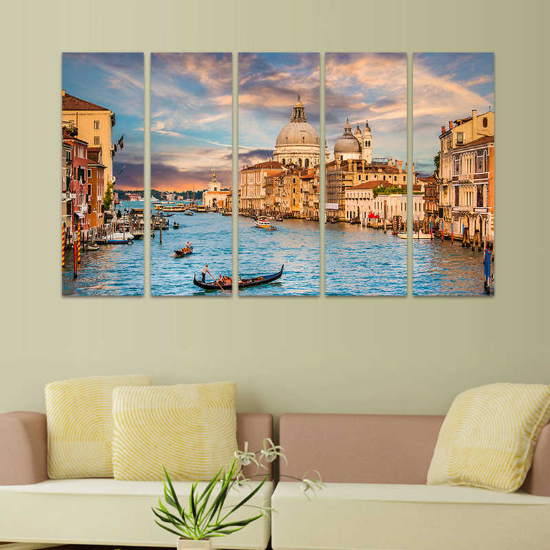 5 Piece Canvas Art Landscape Venice Italy Painting On Canvas Water City Skyline Pictures for Living Room Wall Decor (No Frame)