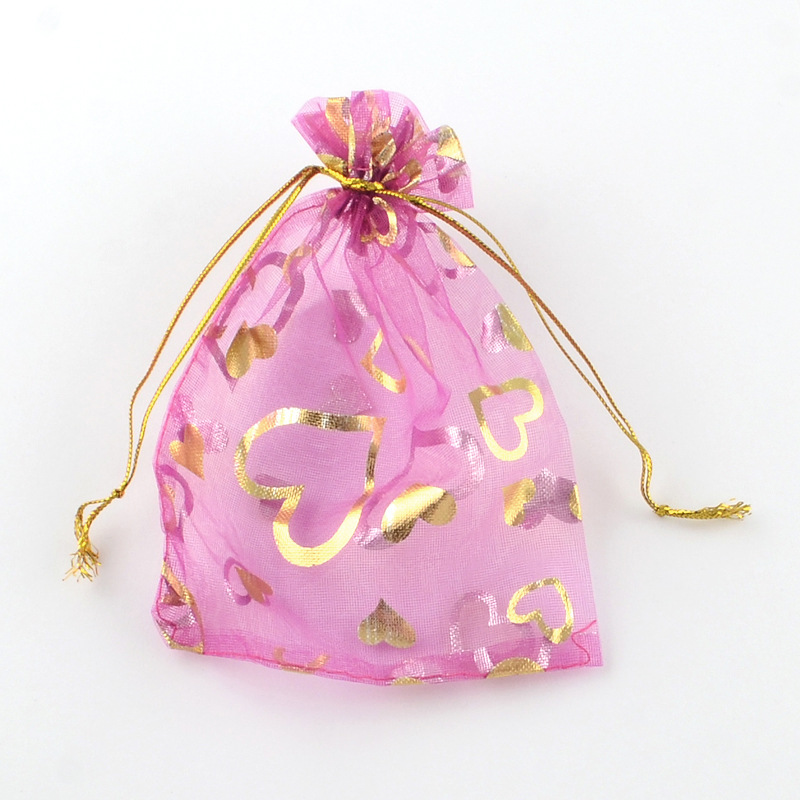 100Pcs 7x9 9x12cm Love Heart Rose Printing Organza Bag Wedding Gift Packaging Jewelry Pouch Packing Bags Christmas Candy Bag W14 in Jewelry Packaging Display from Jewelry Accessories