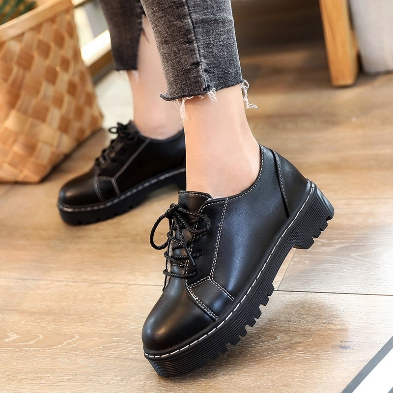 Chaussures Appartements Souple Printemps Rétro Hiver Plat Style De Femmes Black Cuir Up En Derbies Talon Casual Britannique Oxford Lace rwvIwH