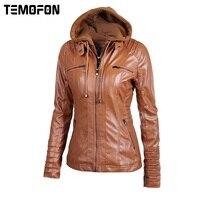 TEMOFON Women Autumn Winter Jackets Faux Leather Basic Zipper Stitching Casual Outwear Coat S 6XL Large