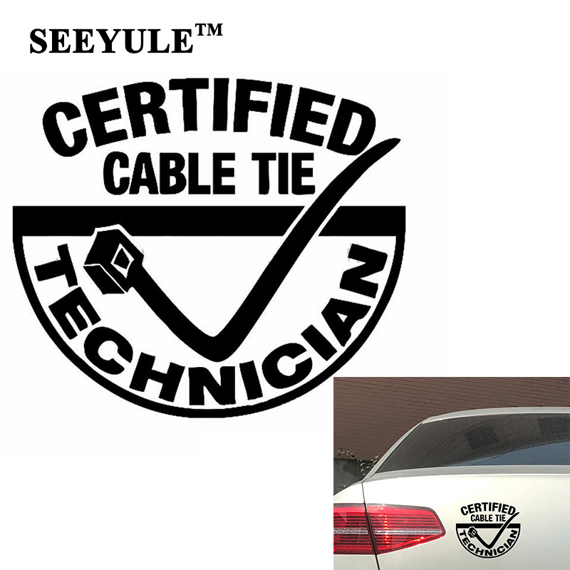 1pc SEEYULE Certified Cable Tie Technician Car Stickers Vinyl Decal Car Styling Professional Technicians Car Decoration