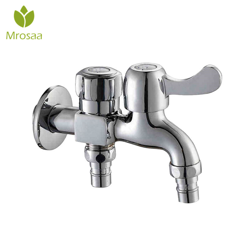 Multifunctional Double Outlet Taps Dual Connect Washing Machine Faucets Bathroom Garden Mop Pool Double Water Outlet Faucets