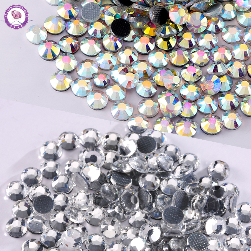 Mix Size Glass Stone DMC Crystal Flatback Rhinestones Round Hotfix Iron on Beads