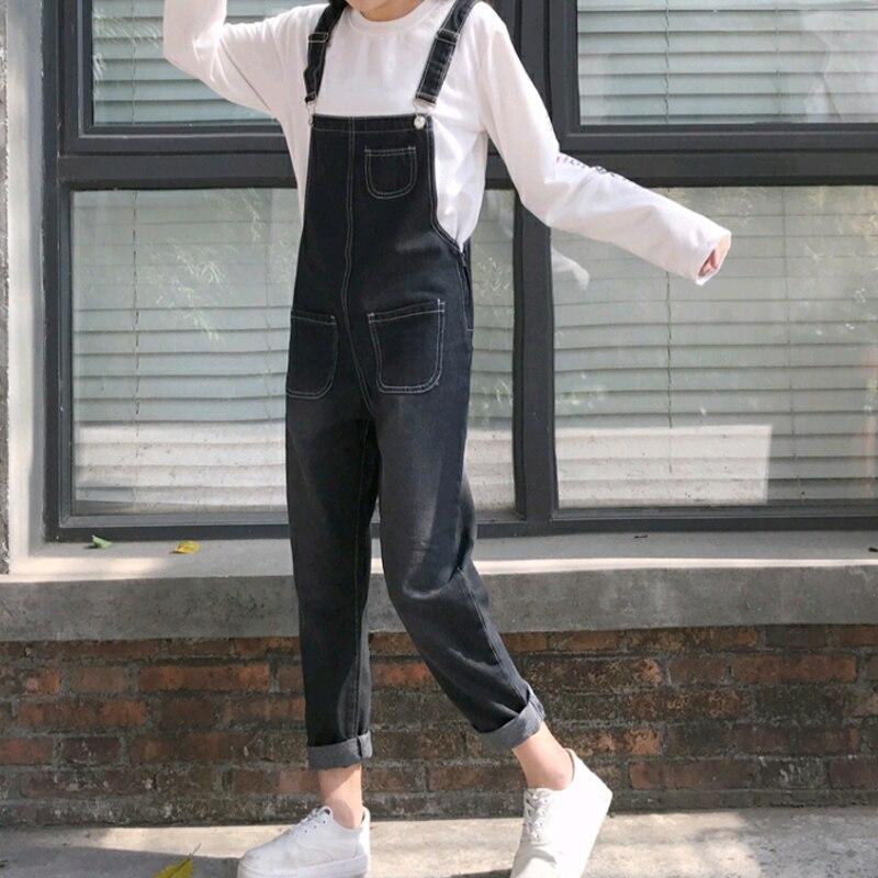 Autumn Korean Style Ulzzang Harajuku Denim Romper Korean BF Style Denim Romper For Female Loose High Waist Ankle Length Romper 1