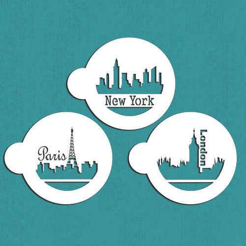 3pcs/set Paris&London&New York Skylines Cookies Stencil Cake Decorations Tools Bakeware