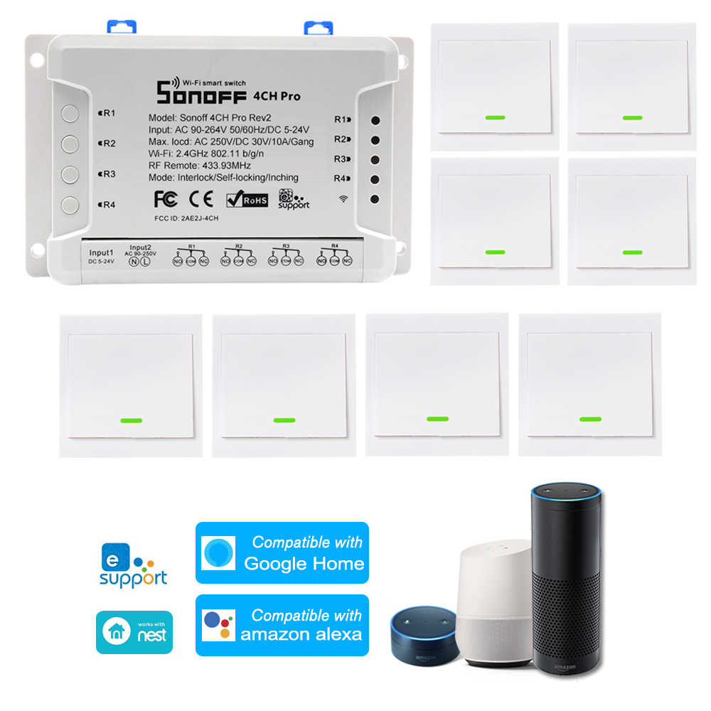 3PCS Sonoff 4CH Pro R2 WiFi Smart Switch Remote Control Work with Alexa Google