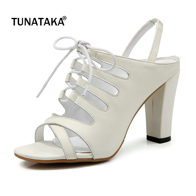 цена на Genuine Leather Square High Heel Open Toe Woman Sandals Rome Lace Up Dress High Heel Shoes Summer White