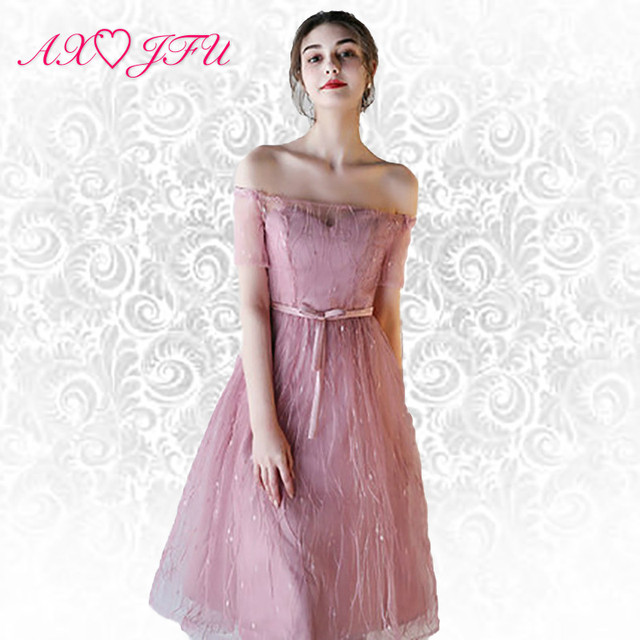 c21234dd514 AXJFU Pink lace evening dresses new pink sister bow evening dresses ...