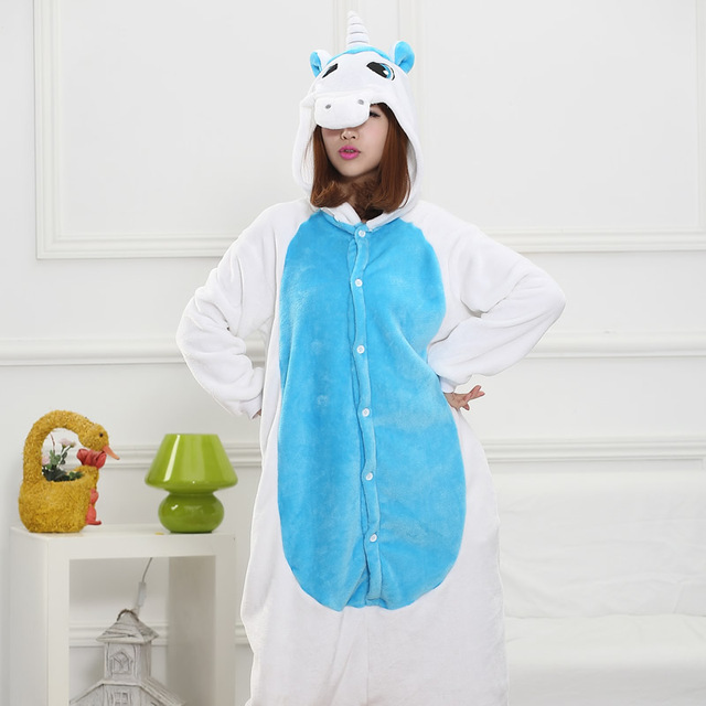 2017 Cartoon Blue Unicorn Pajama sets Flannel Pajamas for women cute animals long-sleeved adult pajamas Sleepwear