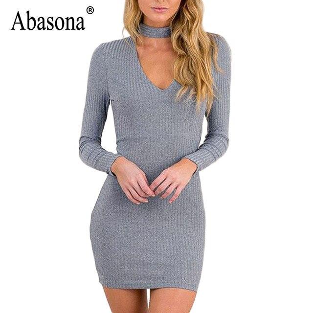 56f9b33ec90 Abasona tunique à manches longues Robe d hiver Sexy Court Crayon Tricoté  Robe Moulante Parti