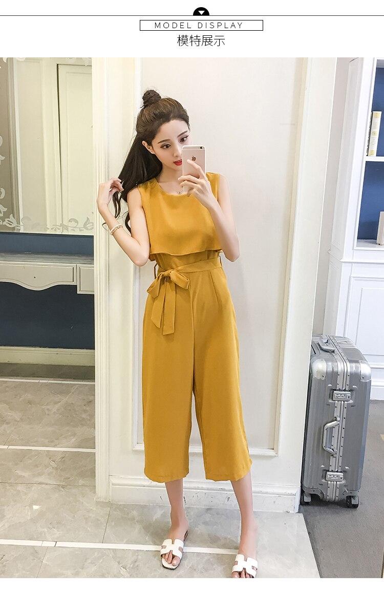 Korean Style 2019 New Women Jumpsuits High Waist Wide-leg Woman Bodysuit Rompers Womens Jumpsuit Combinaison Femme 8